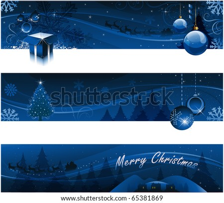 Blue christmas tree headers background