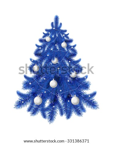 Blue Christmas tree with silver balls and garland isolated on white background. Perfect for greeting cards, holiday design. - stock vector