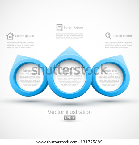 Blue circle banners 3D. - stock vector
