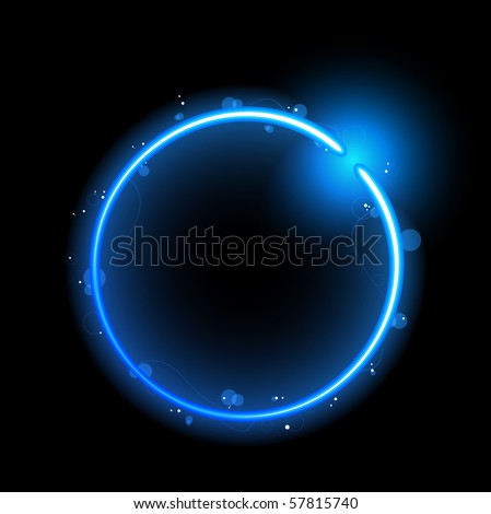 Blue Circle Border with Sparkles and Swirls. Editable Vector Illustration - stock vector