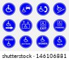 Blue circle handicap signs with wheelchair vector set - stock vector