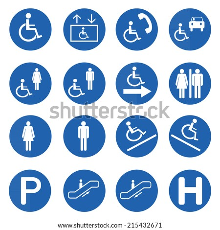 Blue circle handicap signs with wheelchair vector set, Vector illustration - stock vector