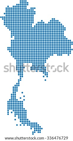 Blue circle shape of Thailand map on white background. Vector illustration. - stock vector