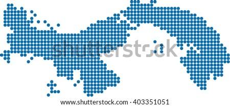 Blue Circle Shape Panama Map On Stock Vector Shutterstock - Panama map vector