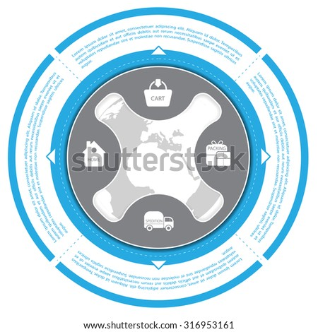 Blue circle with shopping scheme for shop and ecommerce - stock vector