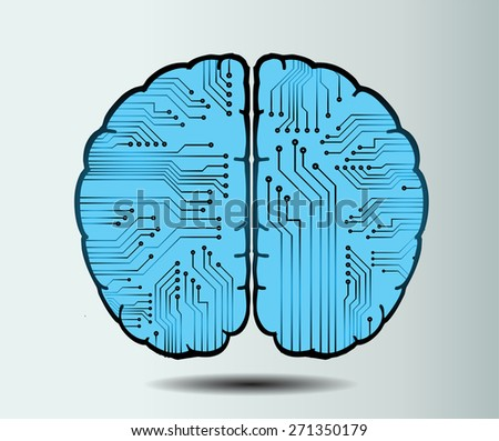 blue circuit board brain. Abstract Technology background for computer graphic website internet and business. vector illustration. white background - stock vector