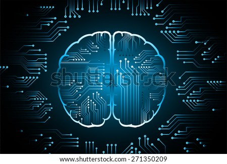 blue circuit board brain. Abstract Technology background for computer graphic website internet and business. vector illustration. dark background - stock vector