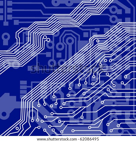 Blue circuit board macro background. vector illustration - stock vector