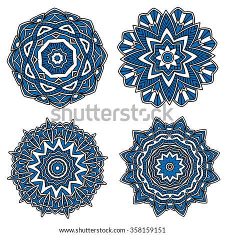 Blue circular floral patterns with white delicate openwork ornament and flower elements. May use as textile, carpet or tile design - stock vector