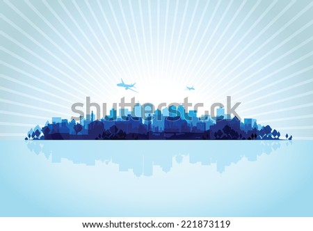 blue cityscape overprint background - stock vector