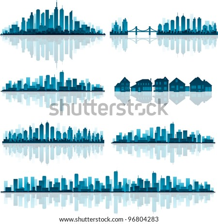 Blue cityscape silhouette with reflection - stock vector