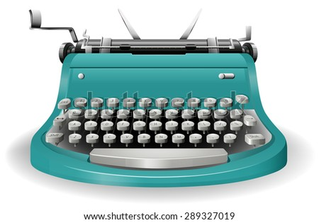 Blue classic typewriter with no paper