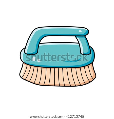 Blue cleaning brush. - stock vector