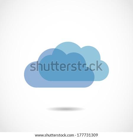 Blue cloud icon vector - stock vector