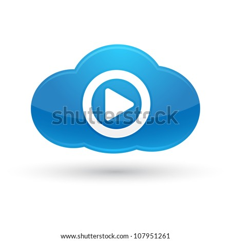 Blue Cloud Media icon - stock vector