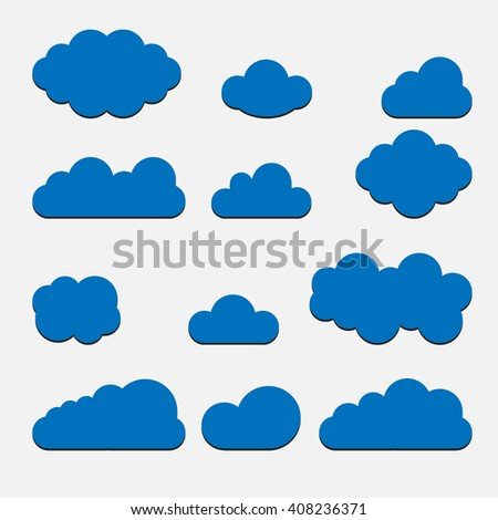 Blue Cloud set icons isolated on background. Modern flat pictogram, business, marketing, internet concept. Trendy Simple vector symbol for web site design or button to mobile app. Logo illustration  - stock vector