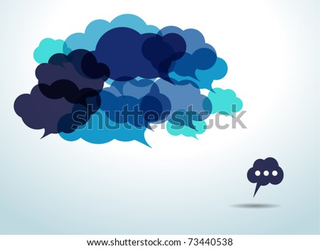 Blue cloud speech bubbles - stock vector