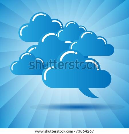 Blue cloud speech bubbles - stock vector