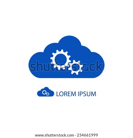 Blue cloud with gear wheels as logo with copyspace - stock vector
