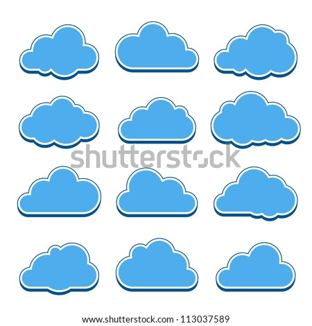 Blue clouds. Collection of cloud icons. Vector illustration - stock vector