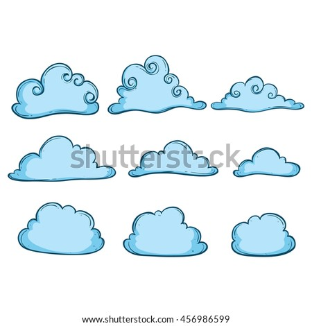 Blue clouds collection with using doodle art - stock vector