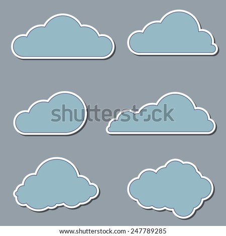blue clouds icon set - stock vector