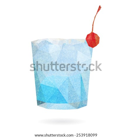 Blue cocktail with cherry in a glass isolated on a white background