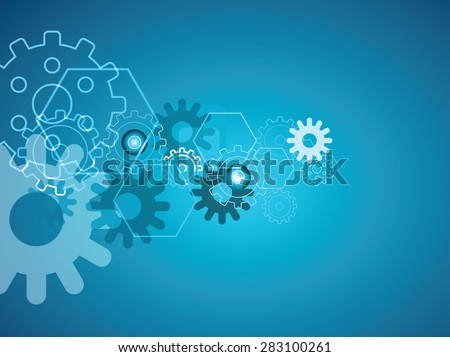 blue cogs engine background - stock vector