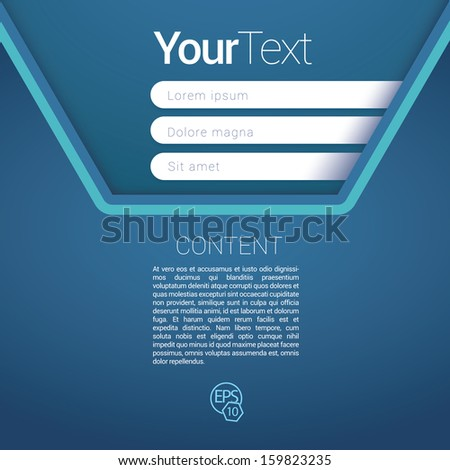 Blue cold color concept edition of a scalable futuristic minimal  vector software 3d layout design with navigation menu for printing, for web, or for mobile application for universal use