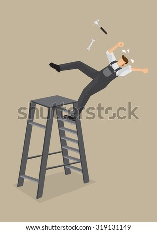 Blue-collar worker loses balance and falls backward from ladder with tools flying off. Vector cartoon illustration on work accident concept isolated on plain background.  - stock vector