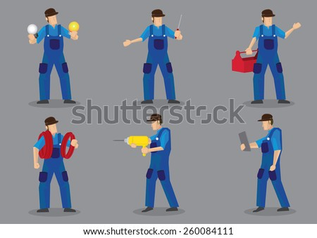 Blue collar worker vector cartoon character icons, can be technical, electrician or mechanic, with various work tools and equipment. - stock vector