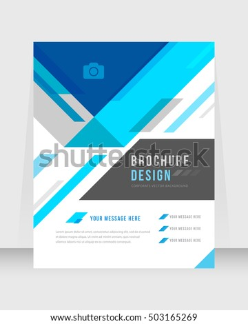 Blue Color Background Busines Book Cover Design Template in A4. Brochure, Magazine, Corporate Presentation, Annual Report, Poster, Website, Flyer, Portfolio, Banner