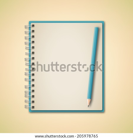 Blue color blank Notebook vector