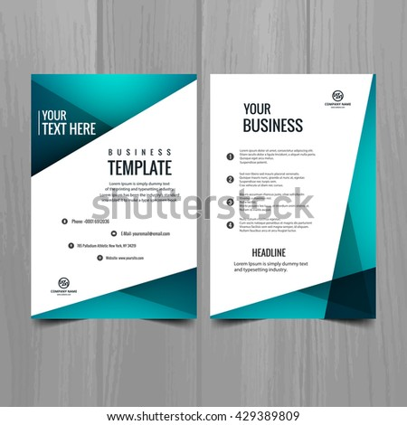 Blue color business brochure - stock vector