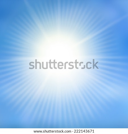 Blue color design with a burst. Sun on blue sky with lenses flare.Vector illustration - stock vector