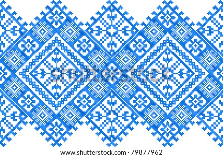 blue color embroidered good like handmade cross-stitch ethnic Ukraine pattern - stock vector