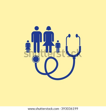 Blue Colored Family Doctor Icon on Light Orange Background. Eps-10. - stock vector