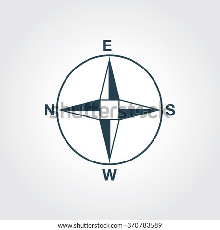 Blue Colored Icon of Direction Compass On Gray Color Background. Eps-10.