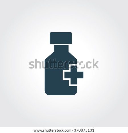 Blue Colored Icon of Drug (medicine) bottle and pills On Gray Color Background. Eps-10. - stock vector