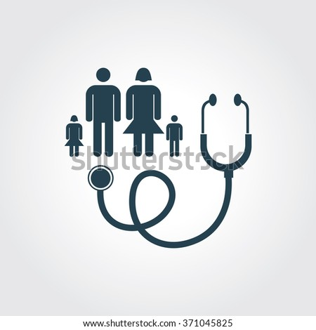 Blue Colored Icon of Family Doctor On Gray Color Background. Eps-10. - stock vector