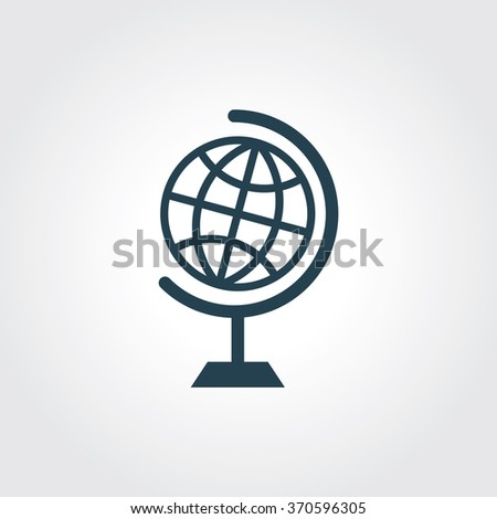 Blue Colored Icon of Globe On Gray Color Background. Eps-10. - stock vector