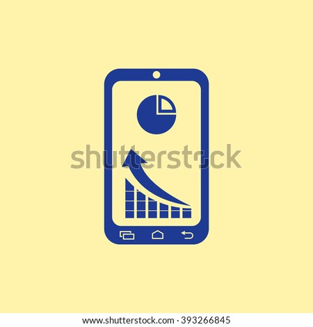 Blue Colored Market Status On mobile Phone Icon on Light Orange Background. Eps-10. - stock vector