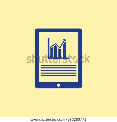 Blue Colored Market Status on Tablet Mobile Phone Icon on Light Orange Background. Eps-10. - stock vector