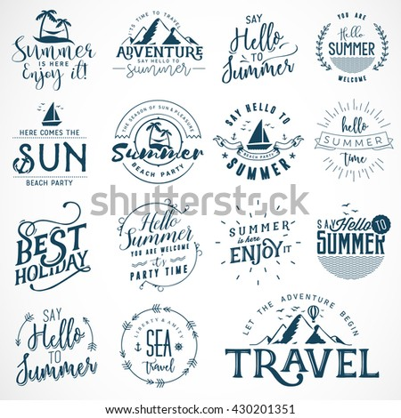Blue Colored Summer Calligraphic Designs. Travel, Sea, Beach and Mountains Badges - stock vector