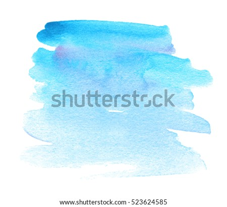 Blue colorful watercolor hand drawn paper texture isolated vector striped stain on white background for text design, card. Aquarelle abstract wet brush paint element for poster, web