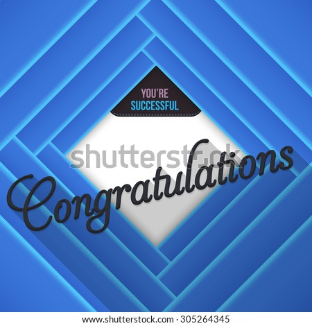 Blue Colors Congratulations Lettering, Movie Style Background - stock vector
