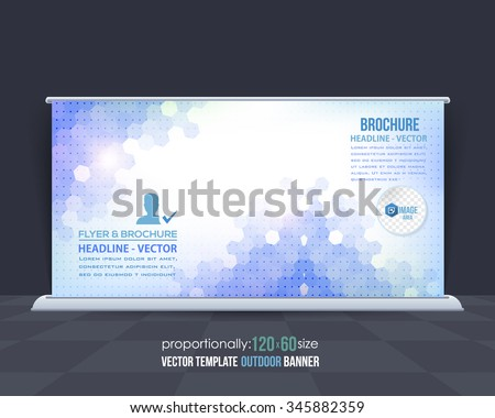 Blue Colors Hexagon Elements Abstract Background Business Theme Outdoor Banner Template, Advertising Vector Design - stock vector