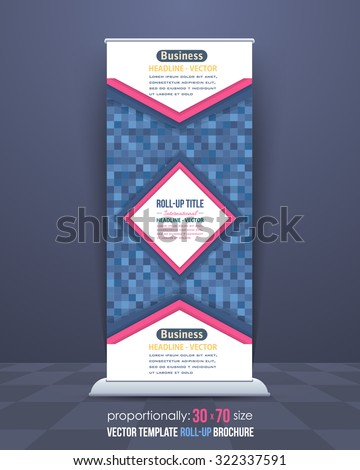 Blue Colors Square Elements Style Roll-Up Banner, Advertising Vector Background Design - stock vector