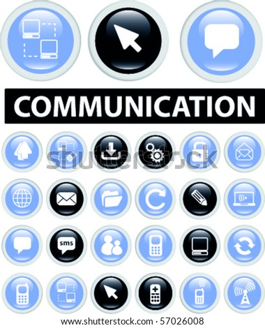 blue communication buttons. vector