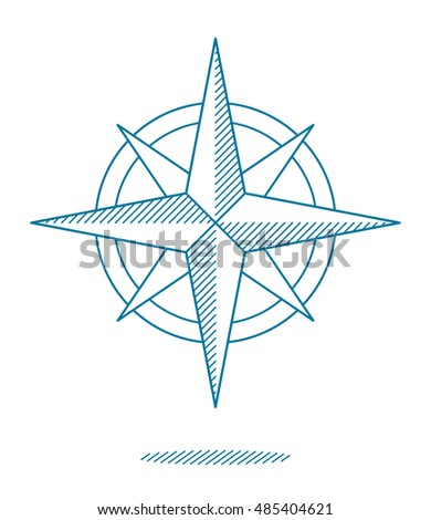 Blue compass rose icon with hatching for nautical themed designs, vector line drawing on white